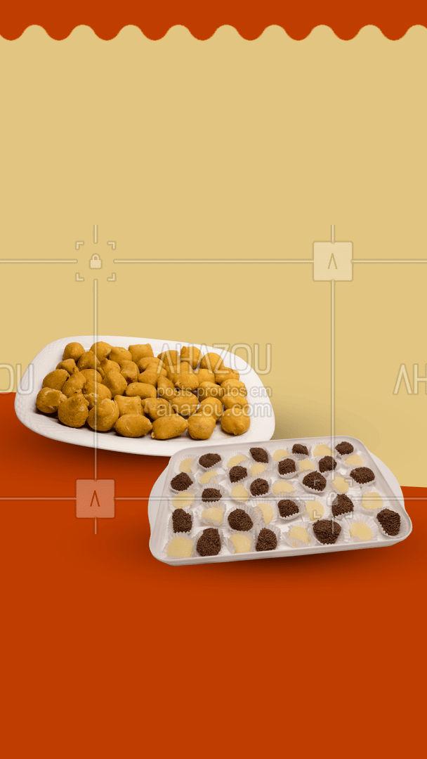 Estamos preparados para te atender. Encomende agora seu kit de doces ou salgados através do telefone xx xxxxx-xxxx  #ahazoutaste  #bolocaseiro #docinhos #foodlovers #confeitaria #kitfesta #salgados