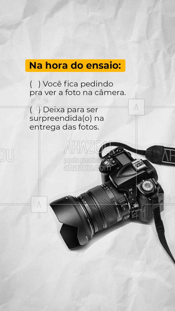 Tem aquelas pessoas que não se aguentam de curiosidade e querem ver as fotos toda hora direto na câmera. E tem aquelas que preferem deixar pra ver só na hora de receber as fotos. Conta aqui nos comentários quem é você nessa hora ?    #EnsaioFotográfico #photo #fotografia #ahazoufotografia  #photographer #picoftheday  #photooftheday #foto