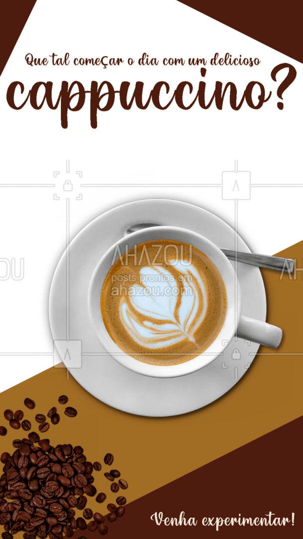 Nada melhor que começar o dia tomando um delicioso cappuccino. Vem fazer uma visita e experimente essa delícia! ☕ #cappuccino #café #expresso #ahazoutaste #cafeteria #ahazoutaste #ahazoutaste