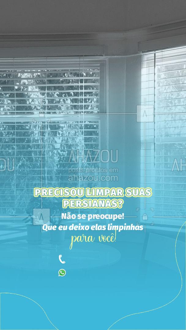 Você não quer deixar suas persianas sujas não é mesmo? Então entre em contato comigo pelo telefone acima que prometo deixá-las limpíssimas. ?? #Persianas #AhazouServiços #Limpeza #Casa