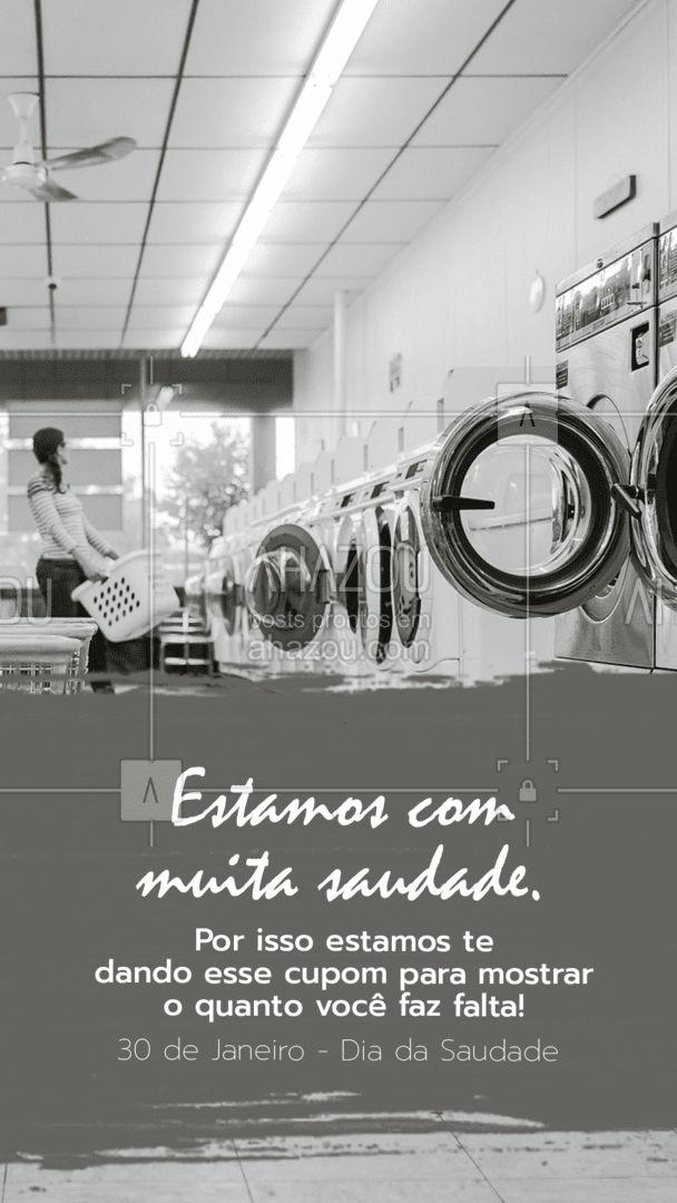 Curta, compartilhe e nos apresente esse post e garanta (colocar o valor do desconto). Não perca essa promoção, ela só é válida no dia da saudade! #AhazouServiços #lavanderia #diadasaudade #roupa #roupasuja #higienização