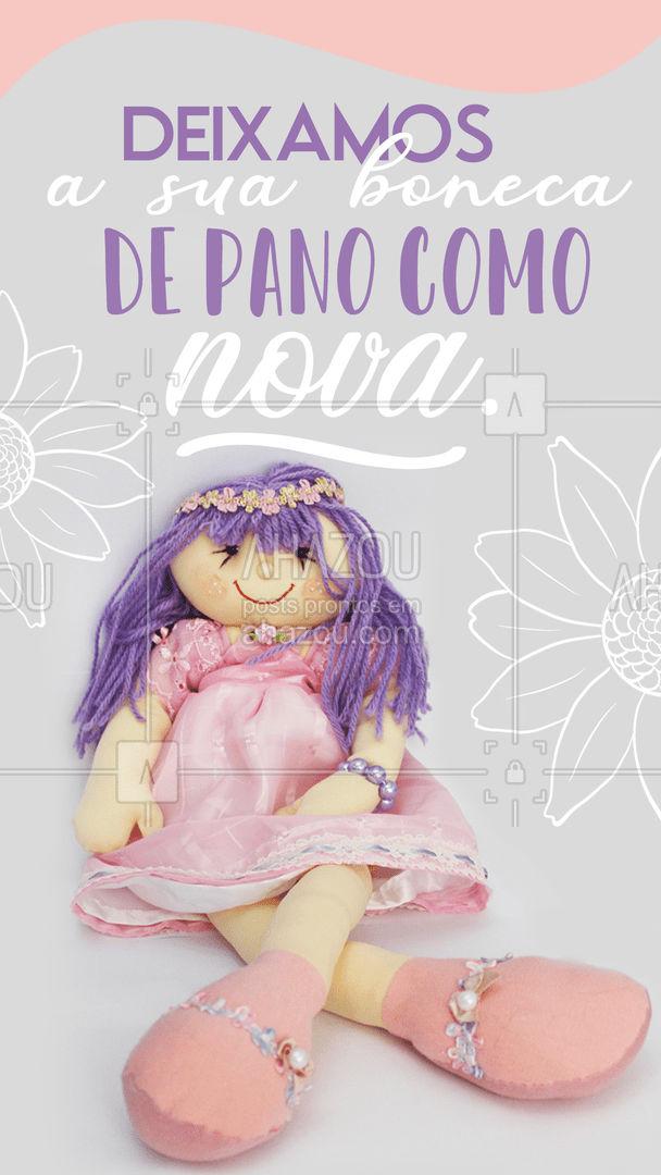 Você não vai acreditar que é a mesma boneca. Vamos deixar ela como nova, só para você. #AhazouFashion #bonecadepano #costureira #reparos