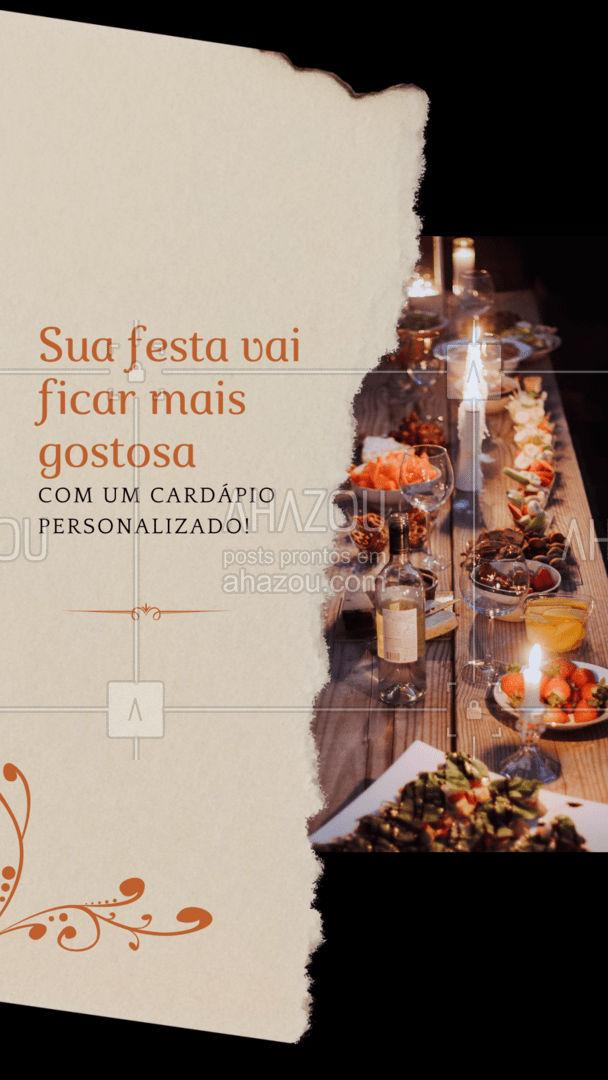 Monte o cardápio dos sonhos para o seu evento perfeito! Entre em contato e solicite o seu orçamento! #eventos #buffet #foodie #ahazoutaste #menu #cardapio #cardapiopersonalizado #opçoes