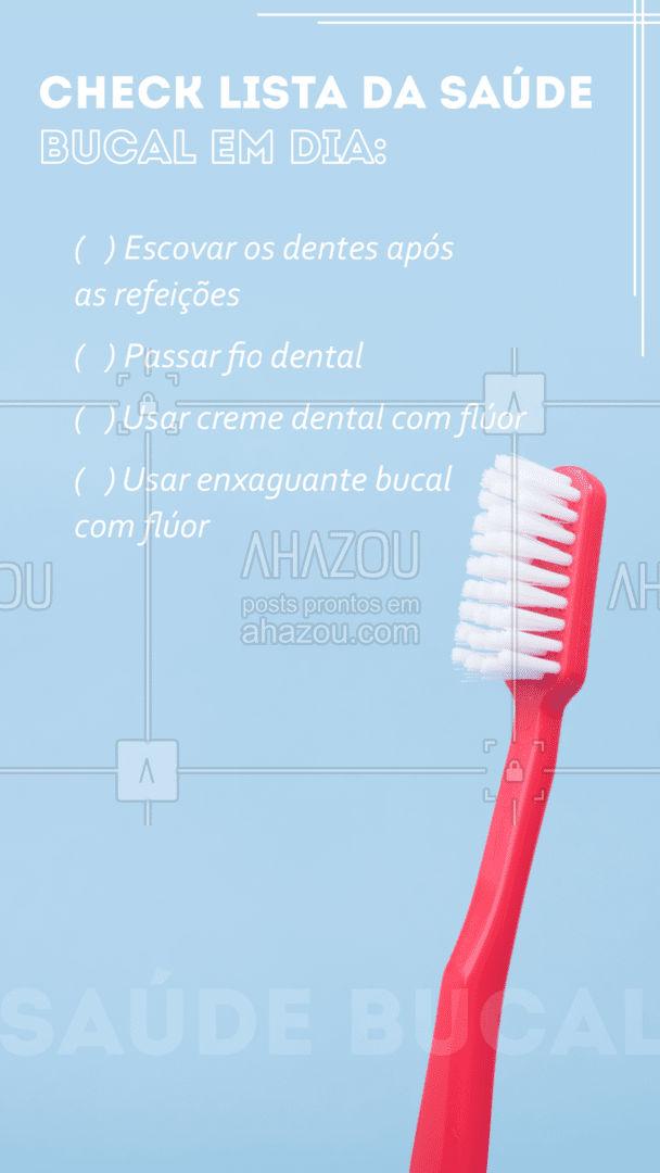 Manter a higiene bucal em dia é muito importante, então deve se seguir algumas dicas: escovar os dentes ao menos 3 vezes ao dia (após as refeições) utilizando creme dental com flúor, passar o fio dental e enxaguante bucal após a escovação também com flúor. #dicas #higienebucal #AhazouSaude  #odonto #odontologia #saude