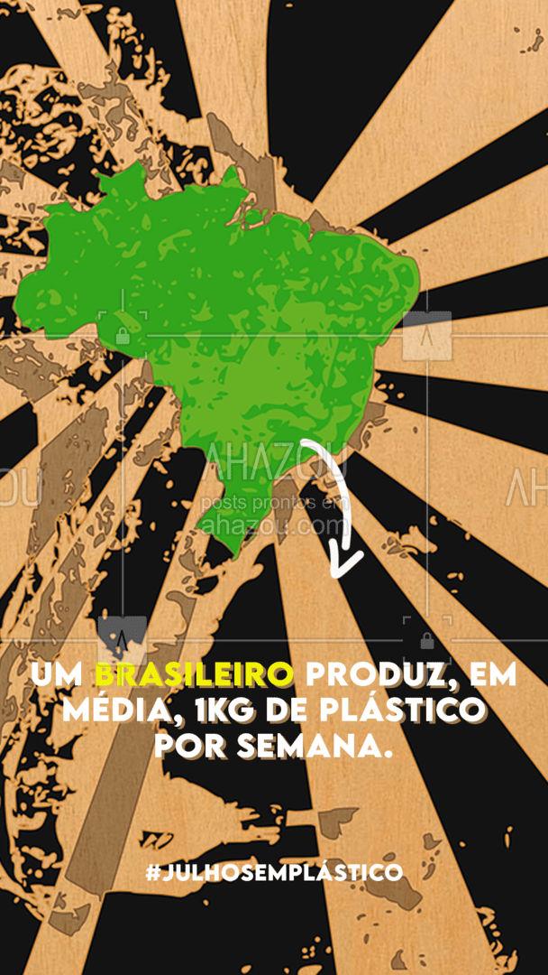 Em julho, que tal ajudar o meio ambiente e reduzir esse consumo pela metade? ???  #julhosemplastico #meioambiente #ahazou #eco #sustentabilidade #plastico