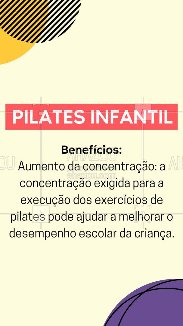 O pilates possui inúmeros benefícios que ajudam no desenvolvimento pleno da criança. Não perca a oportunidade de oferecer o melhor ao seu filho! Conheça nossas aulas de pilates infantil! #pilates #AhazouSaude #pilatesbody #pilatesinfantil #AhazouSaude