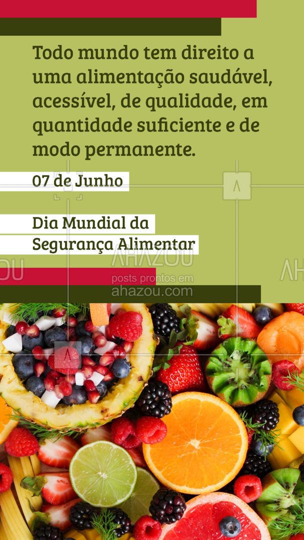 Todo brasileiro tem direito de se alimentar da maneira correta, respeitando as particularidades e características culturais de cada região. #segurancaalimentar #alimentacaosaudavel #AhazouSaude  #bemestar #nutricao #viverbem