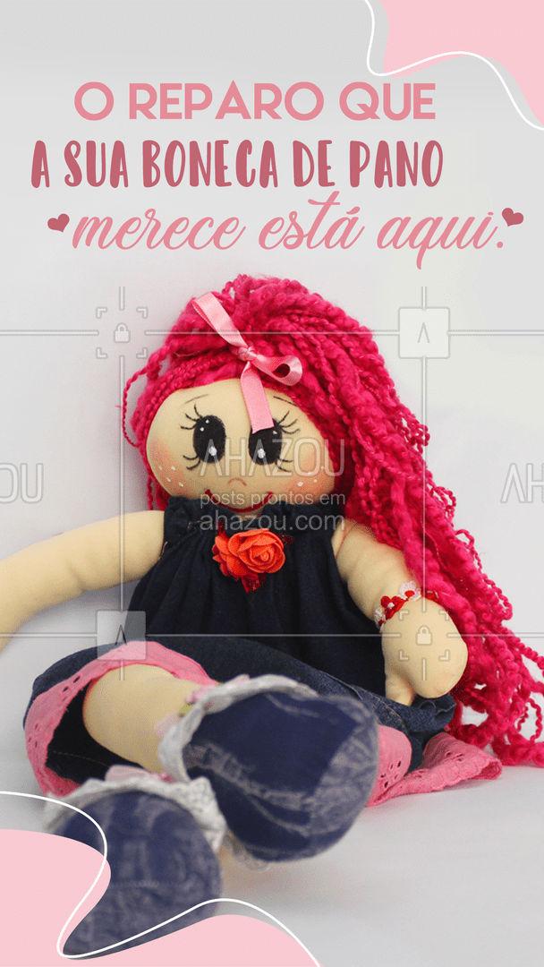 Se a sua boneca de pano está precisando de um reparo, então você já sabe o lugar certo pra levar ela. Esperamos você! #AhazouFashion #bonecadepano #costuraereparo #reparos