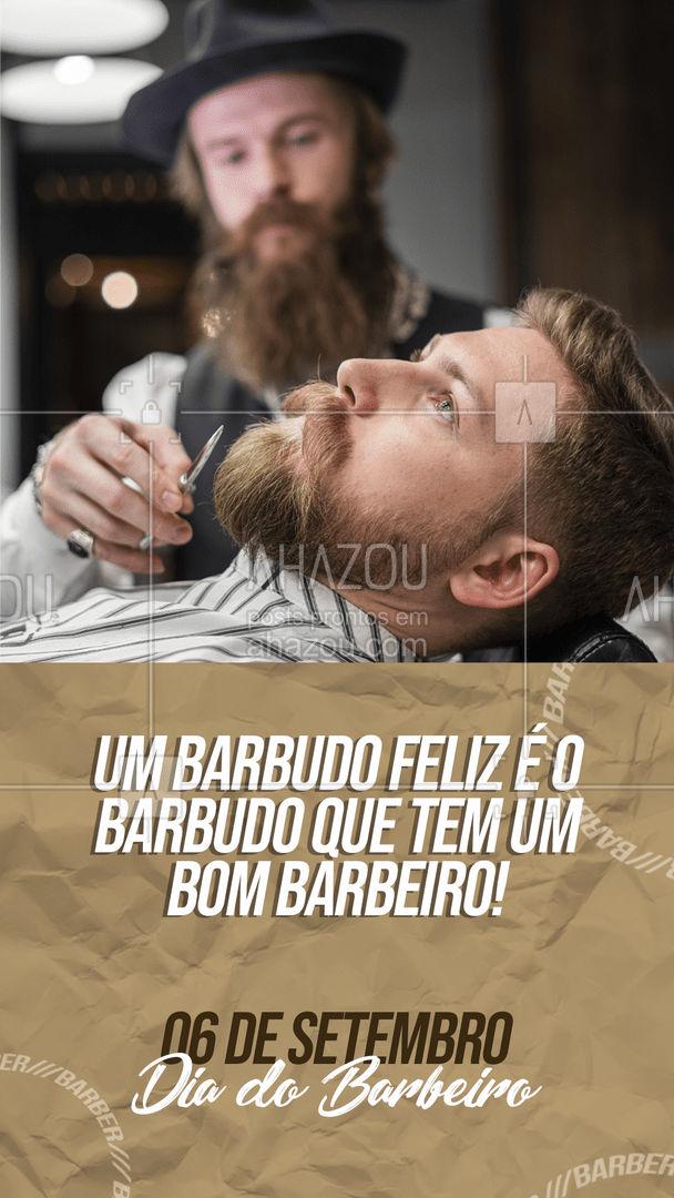 E aqui nós nos esforçamos para deixar nossos barbudos felizes! 👊😉 #diadobarbeiro #barbeiro #AhazouBeauty  #barberLife #barbeirosbrasil #barbearia