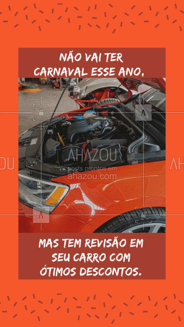 Aqui a gente não consegue te garantir o carnaval, mas uma revisão com ótimos descontos sim! Traga já o seu carro e garanta sua revisão com desconto. ?? #Carro #Descontos #AhazouAuto #Carnaval #Folia