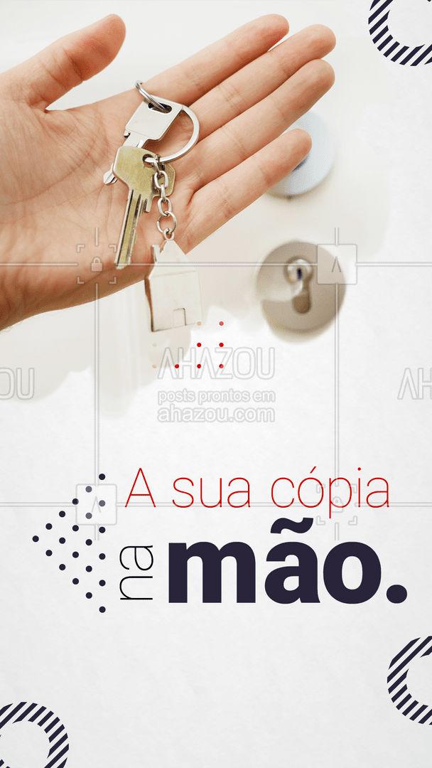 Fazer a cópia das suas chaves é importante para evitar imprevistos. E a gente faz ela rapidinho. ? #AhazouServiços  #chaveiro #copiadechave