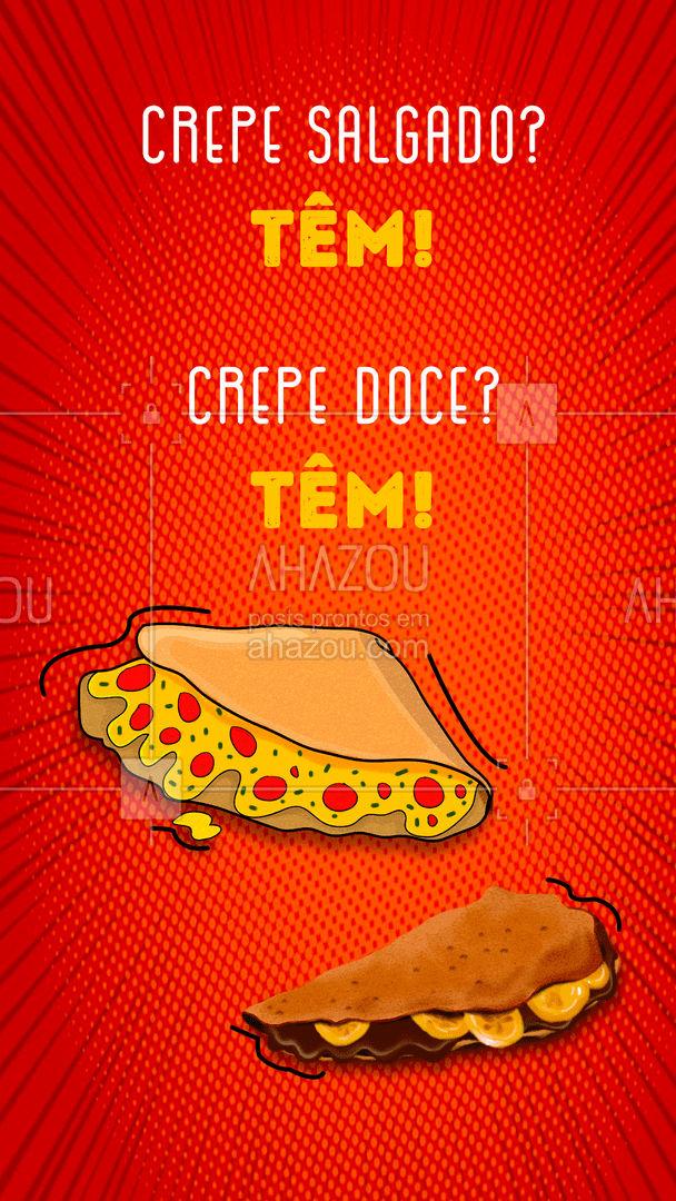 Aqui tem crepe de todo jeito! ? Só falta você pedir!  ?  #ahazoutaste #eat #ilovefood #instafood #foodlovers #crepe #crepedoce #crepesalgado