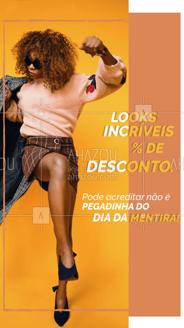 Pode acreditar essa promo é real. Venha conferir! #lookdodia #fashionista #fashion #moda #AhazouFashion #OOTD #modafeminina #promoçao #desconto #diadamentira