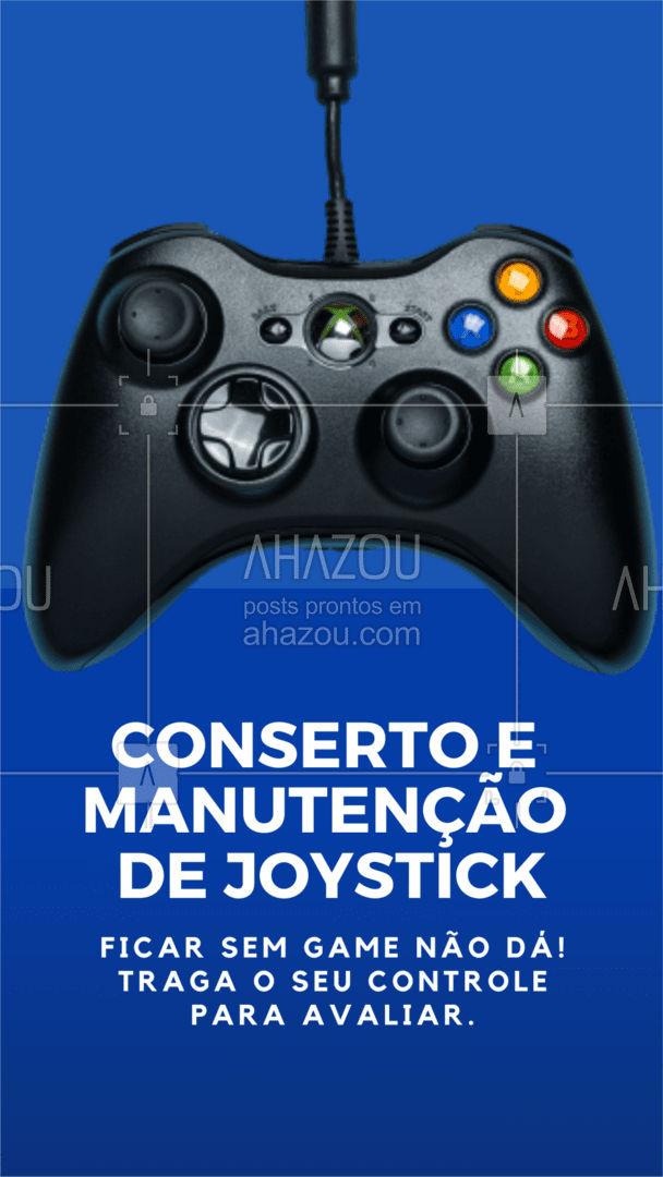 O jogo não pode parar! Conserto de JOYSTICK'S com agilidade e eficiência é com a gente! ? . Para evitar futuros danos traga seu controle para uma manutenção.✔️ . #AhazouTec #game #videogame #joystick #consertodeeletronicos