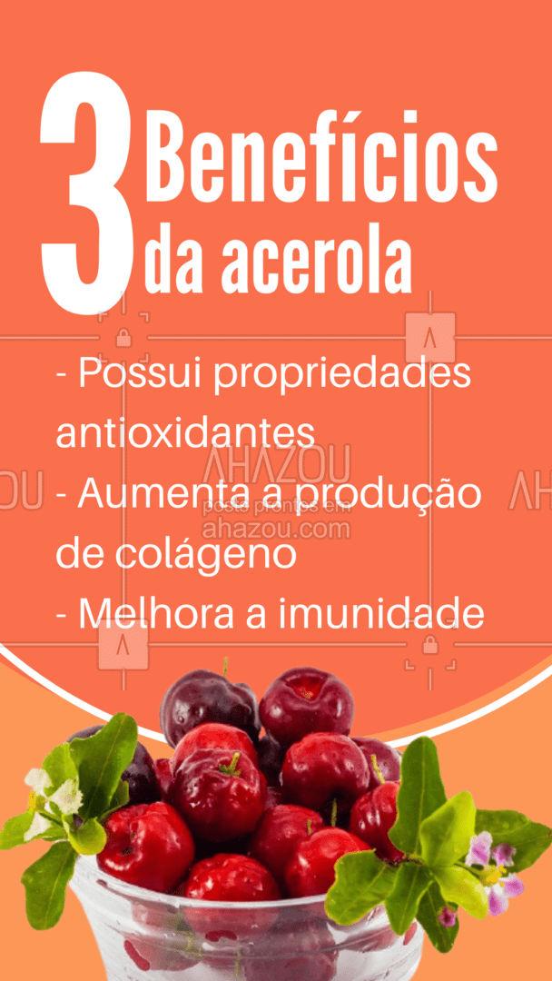 A acerola é deliciosa para fazer suco, e por ser rica em vitamina C, a acerola previne gripes e resfriados, sendo uma ótima aliada da imunidade. Além disso, a acerola ajuda a combater o estresse e a fadiga, ficou com vontade de tomar uma suquinho gelado de pura vitamina né 😋 #ahazoutaste #acerola #frutas #beneficios  #vidasaudavel  #hortifruti  #organic  #alimentacaosaudavel