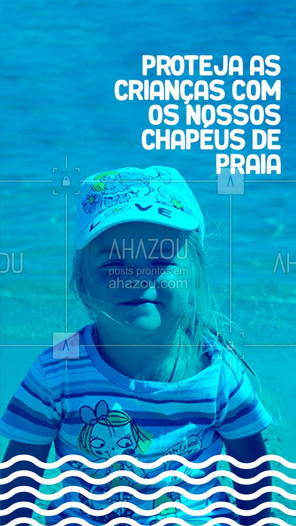 Queimadura no couro cabeludo são normais se exposto muito ao sol em um dia de praia, por isso é importante equipar os pequenos com chapéus. Aqui você encontra uma variedade de modelos ☀️ #AhazouFashion  #moda #modapraia #summer #crianças #chapéu
