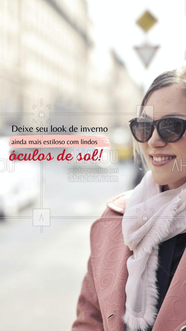 Além de conferir muito mais estilo para seu look, a sua saúde ocular vai estar super protegida! Venha conferir nossa coleção! #oculos #proteçao #inverno #AhazouÓticas #oticas #armaçao #oculosdegrau #oculosescuros