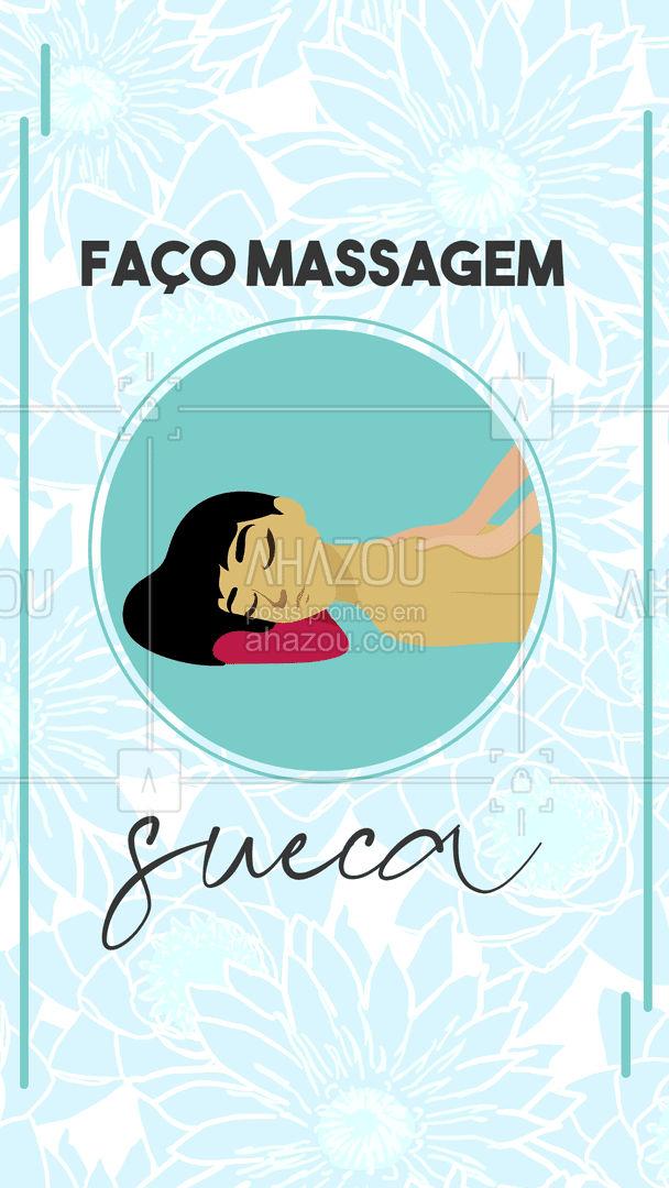 Venha fazer massagem sueca comigo, essa massagem tem o efeito de relaxar os músculos e acabar com os estresses do dia-a-dia, além de descontrair a musculatura e redução das dores e inflamações. É utilizada técnicas e movimentos específicos que buscam chegar nesses resultados. #massagemsueca #AhazouSaude  #massoterapia #massagem #relax