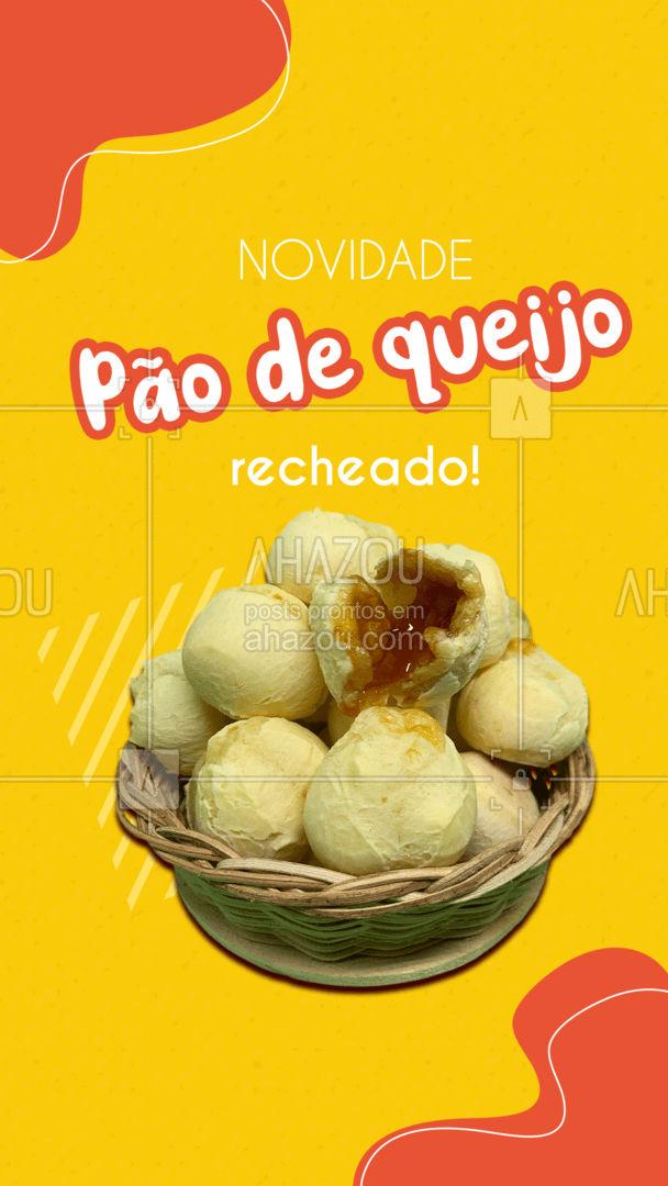 Venha experimentar nosso delicioso pão de queijo recheado! #paodequeijo #novidade #ahazoutaste  #salgados #cafedamanha #padaria #café