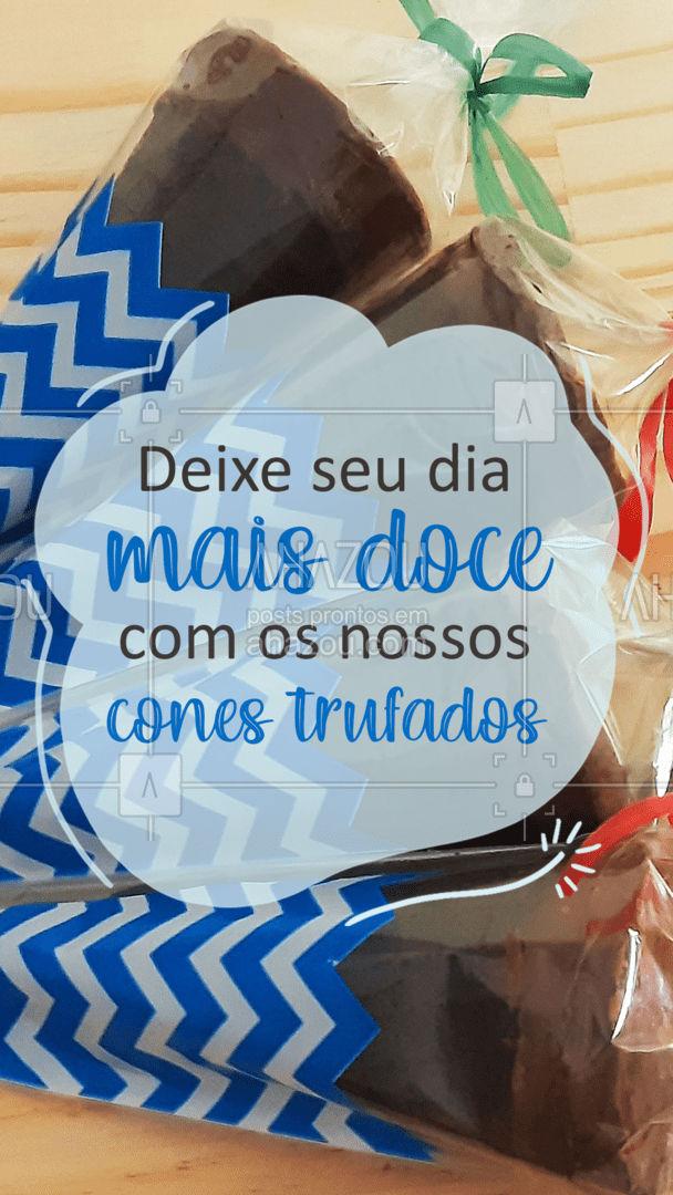 Em diversos sabores, nossos cones com certeza vão adoçar o seu dia e a sua vida! ?? #coneTrufado #cones #ahazoutaste  #doces #confeitaria