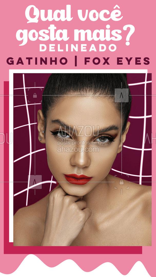 O olhar é tudo! Qual tipo de delineado você prefere? Deixe nos comentários! 🥰 #AhazouBeauty #mua  #makeup  #muabrazil  #maquiagem  #maquiadora  #makeoftheday #delineado #gatinho #foxeyes #enquete #interação