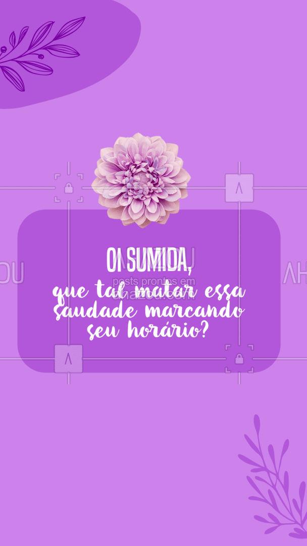 Agenda aberta para matar a saudade, garanta sua vaga! #AhazouBeauty #estetica #beauty #beleza #saudade #sumida