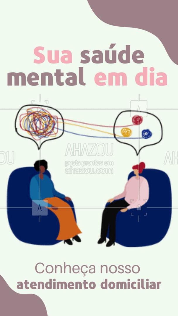 A sua saúde mental também é importante, não a deixe de lado, marque já o seu horário! #saudemental #AhazouSaude  #atendimentodomiciliar #terapia