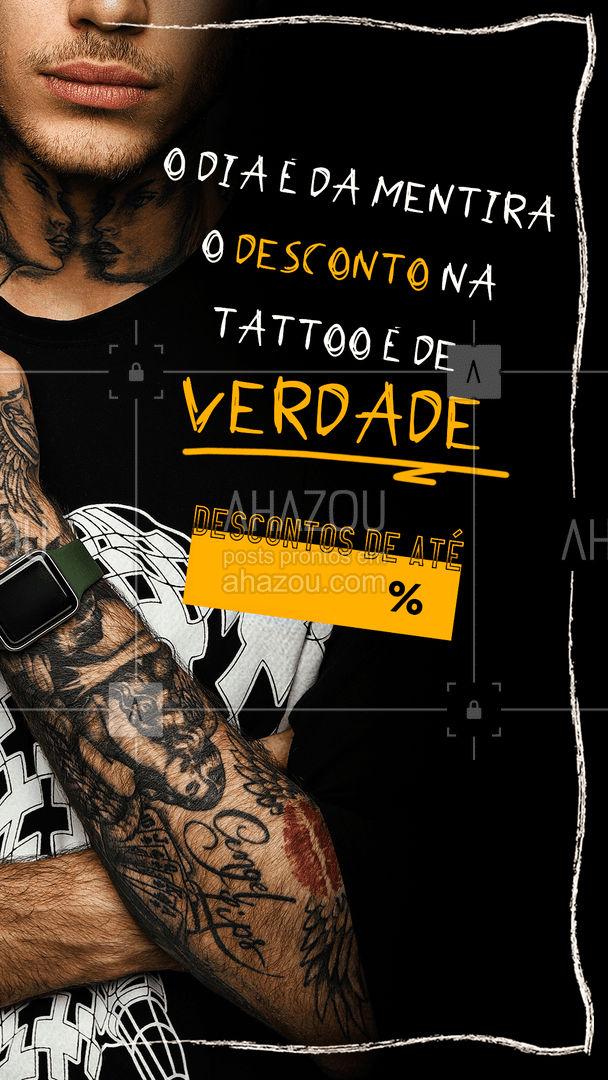 Pode acreditar esses descontos são reais! Agende o seu horário! #tattooepiercing #bodypiercing #tattootradicional #piercing #estudiodetattoo #AhazouInk #tatuagem #tattoo #tattoos #pormoçao #desconto #diadamentira
