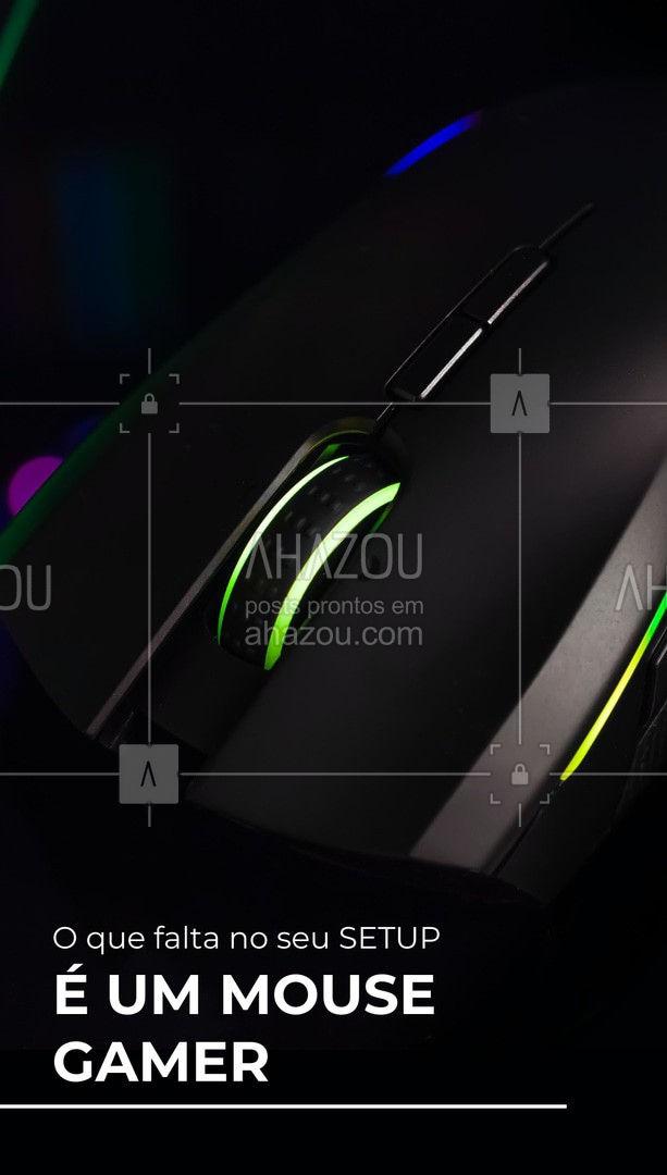 Um item que não pode faltar no seu setup é um bom mouse gamer, vem dar uma olhada nas nossas opções e escolha a que mais combinar com você ? #AhazouTec #mousegamer #setup #convite  #AssistenciaTecnica #eletrônicos