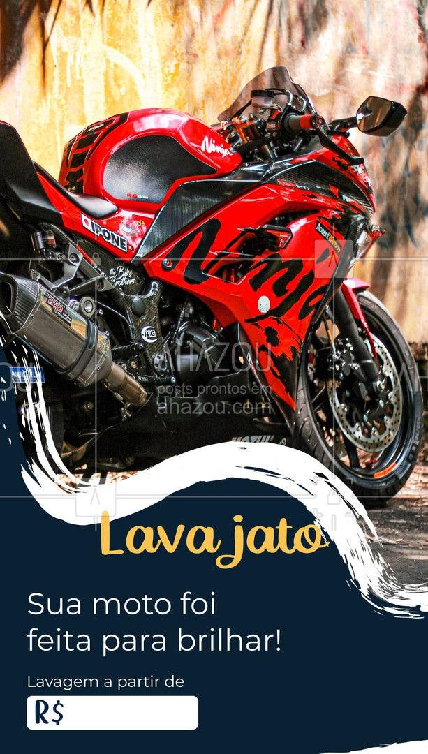 Traga sua moto sem preocupação! Para mais informações, entre em contato: (xx) xxxx-xxxx #AhazouAuto  #esteticaautomotiva #lavajato #moto #lavagemdemoto