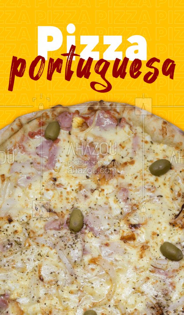 A melhor pizza portuguesa da região você encontra aqui! Entre em contato e peça já a sua! #pizzaria #pizza #pizzalife #ahazoutaste #pizzalovers #sabores #pizzadeportuguesa #portuguesa