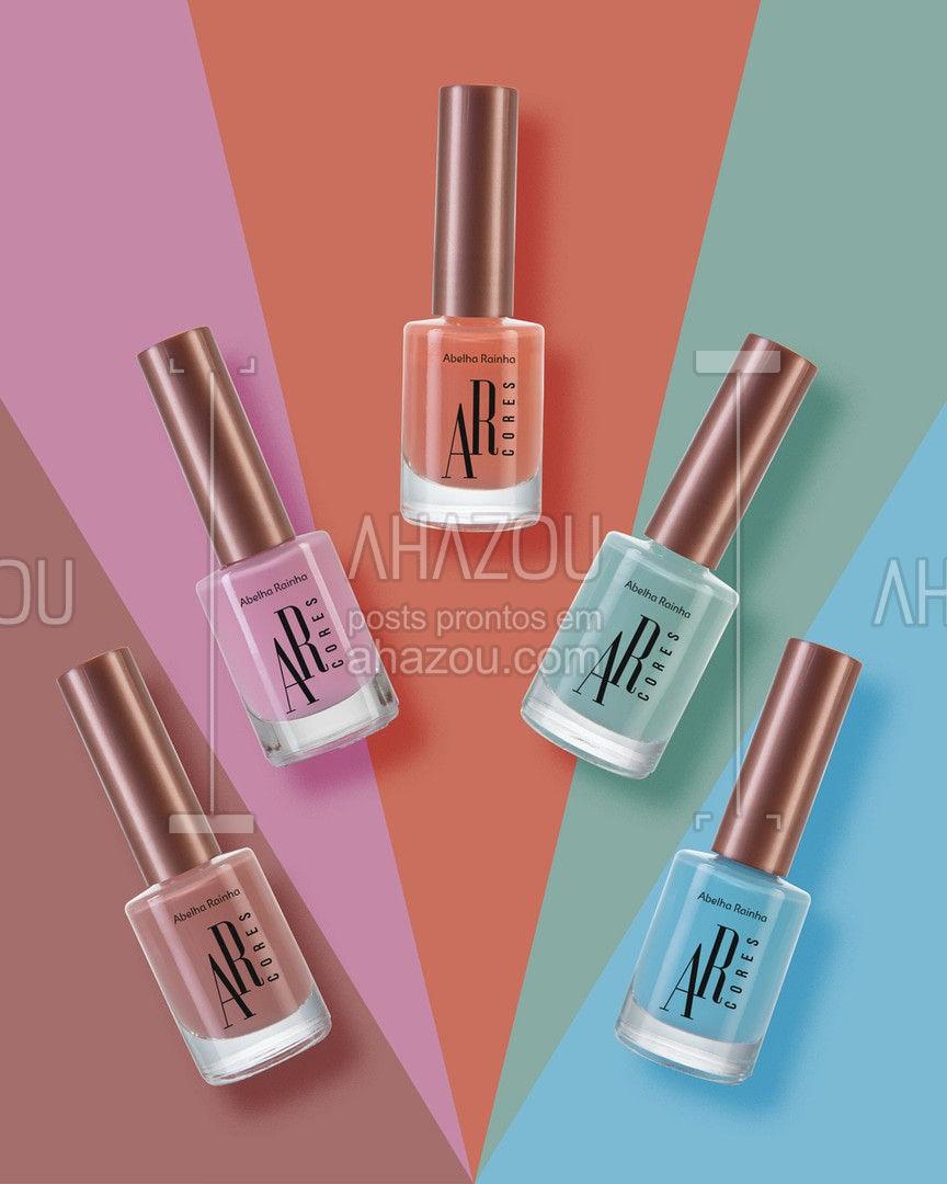 Os melhores benefícios estão nos esmaltes da Linha AR Cores! Secagem rápida, longa duração e agora com cinco novas cores para você se encantar. . #AbelhaRainha #Esmaltes #Unhas #Nails #ahazouabelharainha #ahazourevenda