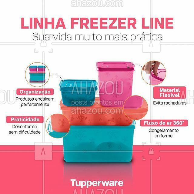 Você vai pirar com a linha Freezer Line da Tupperware®️! Ela foi feita com cantos arredondados que permitem desenformar com facilidade e os produtos se encaixam perfeitamente na hora de guardar economizando espaço. Seu freezer merece esse mimo! #ahazoutupperware #ahazourevenda