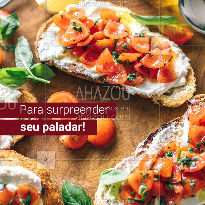 Surpreenda seu paladar com nossos pratos saborosos.   #gastronomia #ComidaItaliana #bruschetta #ahazou #massas
