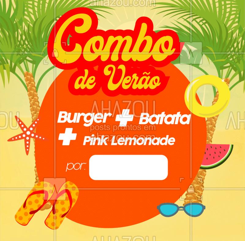 Novidades tropicais ? Nosso combo de verão é garantia de comida gostosa e refrescância nesse verão: Burger + Porção de batatas fritas + Pink Lemonade por um preço super especial! Venha até nós ou peça pelo delivery ? #burgerlovers #ahazoutaste #foodlovers