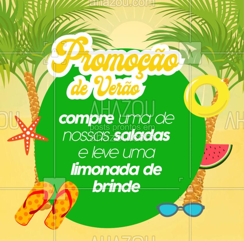 A NOSSA PROMOÇÃO DE VERÃO CHEGOU! Na compra de uma de nossas saladas, leve um suco refrescante de brinde! <3 #foodlovers #ahazoutaste #summer