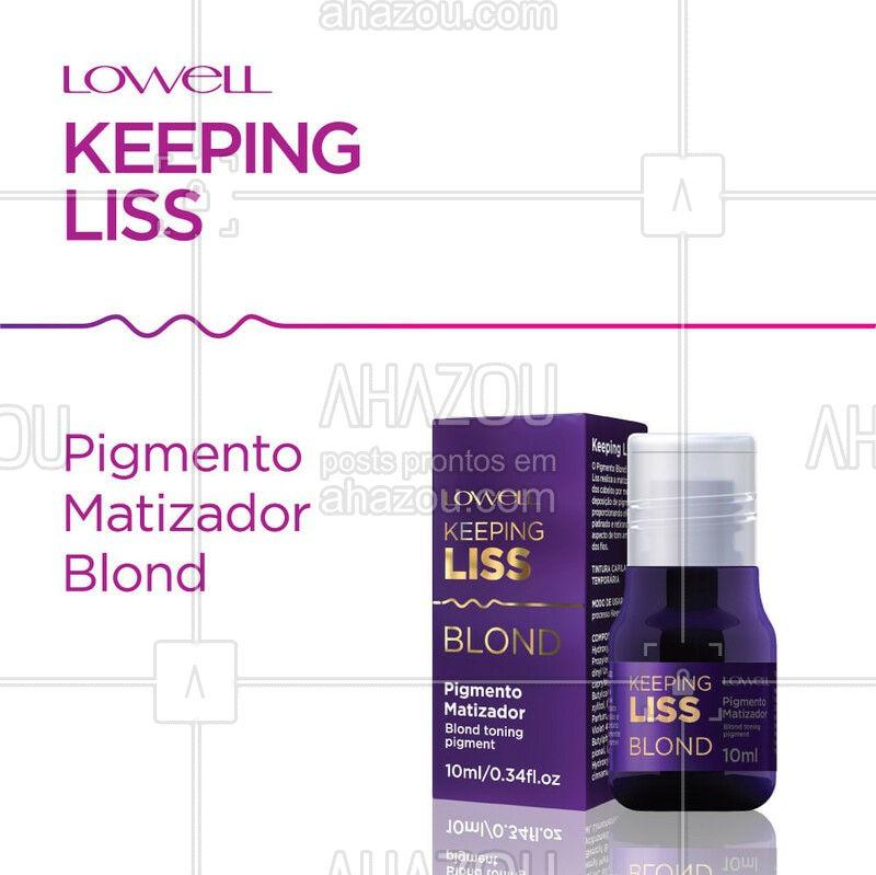 O O Pigmento Blond Keeping Liss, chega para assegurar o o processo de alisamento em cabelos loiros, protegendo os fios do desbotamento ao entrarem em contato com altas temperaturas. Realiza a matização dos cabelos por meio da deposição de pigmentos, proporcionando efeito platinado e retirando o aspecto de tom amarelado dos fios. Garanta um cabelo liso e com um loiro de arrasar com Keeping Liss Lowell! ?❤ #KeepingLissLowell #NovaKeepingLiss #AhazouLowell #PigmentoBlondKeepingLiss #NovidadeLowell #Lowell #LowellCosméticos #LowellOficial