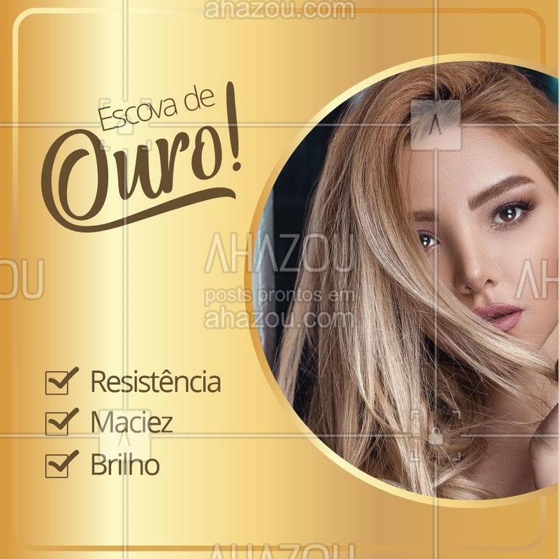 Suas madeixas mais lindas como você sempre quis! Agende seu horário! ? #cabelo #ahazou #escovadeouro