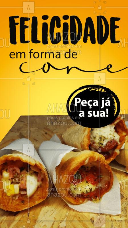 Se existe definição melhor do que essa para pizza cone, nós desconhecemos! ??? #PizzaCone #Pizza #ahazoutaste #Pizzalovers  #pizzaria