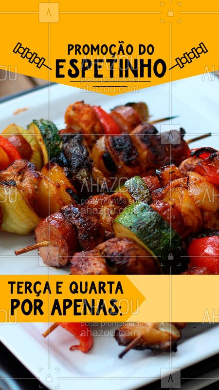 Bateu aquela fome?  Que tal um espetinho delicioso por um precinho que cabe no bolso?  Venha aproveitar!  #espetinho #ahazou #churras