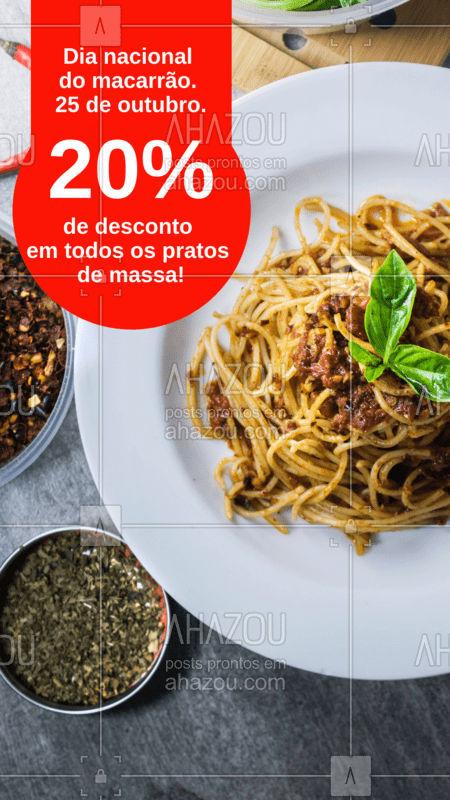 Hoje é o dia nacional do macarrão. E para comemorar, todos os nossos pratos de massa estão com 20% de desconto. Somente hoje! #macarrao #massa #ahazou #pasta #diadomacarrao #desconto #promocao