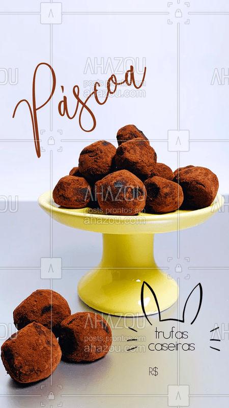 A Páscoa é uma data esperada pra comer um monte de chocolate gostoso e nada melhor que comer chocolates caseiros feitos com amor.  Temos trufas caseiras por R$XX??   #páscoa #chocolate #chocolovers #trufas #ahazoutaste
