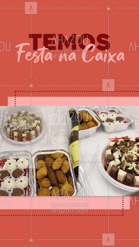 Quem não amaria receber uma festa na caixa só com doces, salgados e até mesmo o bolo pensado exclusivamente nela em uma data especial? ? Conheça o nosso cardápio: (inserir contato) ✨  #FestaNaCaixa #Encomendas #DoceseFestas #DocesSalgadoseFestas #Doces #Salgado #AhazouTaste #Gastro #Gastronomia #Taste #Tasty #KitFesta