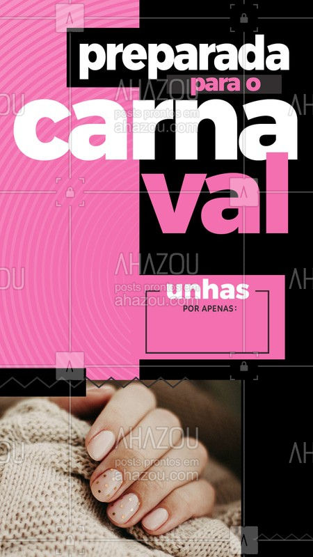 Chegou a hora de você estar preparada para curtir o carnaval! Venha ficar linda com unhas de arrasar. Agende já seu horário! #Carnaval #Ahazou #Unhas