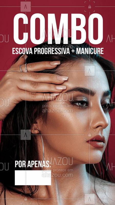 E esse combo arrasador? ? Agende seu horário agora mesmo! #progressiva #ahazou #unhas #manicure