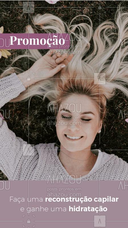 Que tal reconstruir os fios que estão danificados e ainda tratá-los com uma boa hidratação? Aproveite essa promoção! #ReconstruçãoCapilar #HidrataçãoCapilar #SalãoDeBeleza #Ahazou #Autoestima #Beleza #Cabeleireiro #CabelosSaudaveis #Cabelos