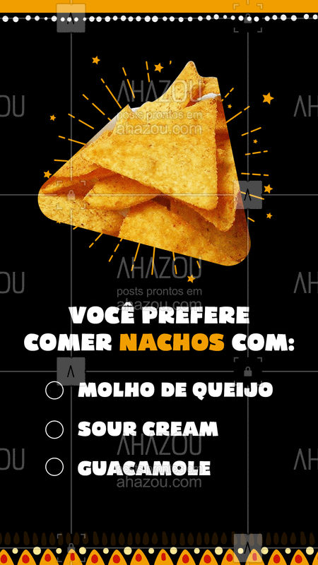 Nossas tortilhas de milho crocantes com formato triangular são um sucesso e para acompanhar essa delicia temos molho de queijo, sour cream e guacamole. Agora o que falta é você nos contar qual é o que te deixa com mais água na boca ? #ahazoutaste #nachos #molho #molhodequeijo #sourcream #guacamole #enquete  #comidamexicana #cozinhamexicana #vivamexico #texmex #preferido #mexico #acompanhamento #sabor