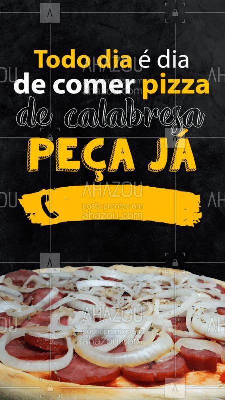 Pizza é aquela comida que combina com qualquer dia e qualquer hora! Bateu uma fominha? Peça a sua pizza de calabresa! ??  #Pizza #PizzadeCalabresa #PizzaDelivery #ahazoutaste  #pizzaria #pizzalife #pizzalovers