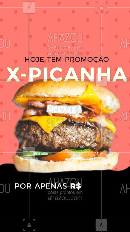 Começou a época de promoções. A promoção de hoje é X-Picanha por apenas R$...... Aproveite ! Peça agora #ahazoutaste #burger #promocao #comer #instafood