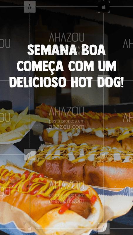 Porque nem só de salada na segunda-feira vive o ser humano ? Um hot dog para começar a semana vai bem, né?! Peça o seu pelo nosso delivery. #HotDog #BoaSemana #segundafeira #lanche #comidasvariadas #foodlovers #ahazoutaste #ahazoutaste
